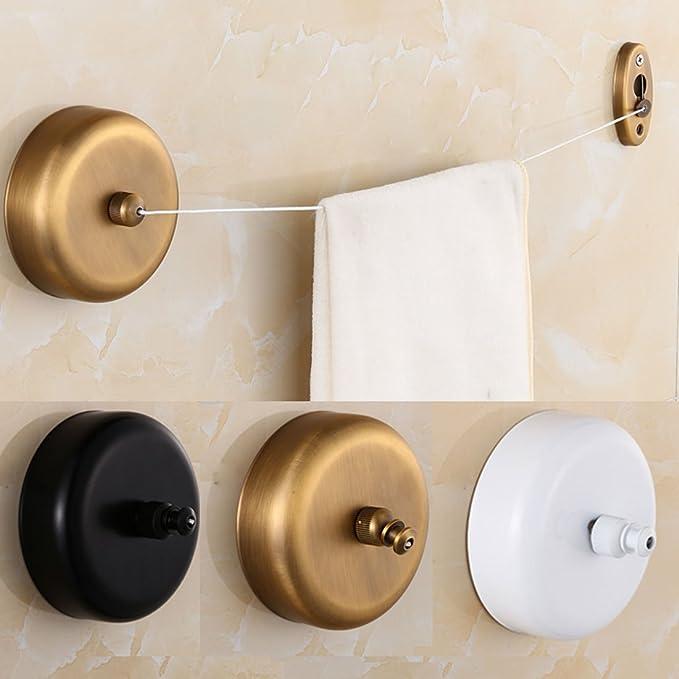 Amazon.com: eDealMax de Metal Para el hogar de viaje retráctil ropa de la toalla que cuelga Secadora Tendedero Línea Negro: Home & Kitchen