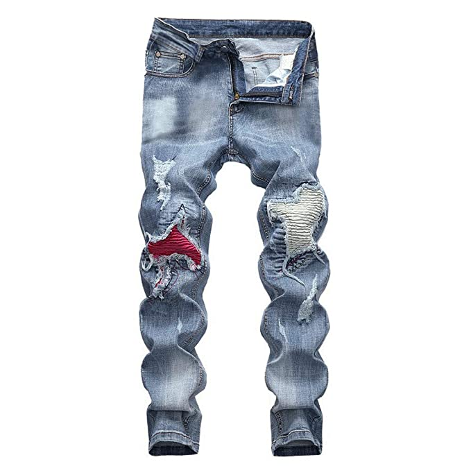 beautyjourney Jeans de Moto destruidos para Hombre ...