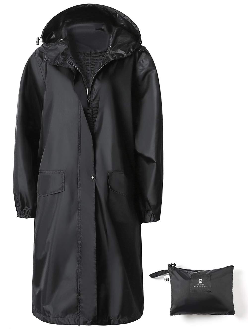 SaphiRose Womens Long Hooded Rain Jacket Waterproof Lightweight Raincoat Windbreaker