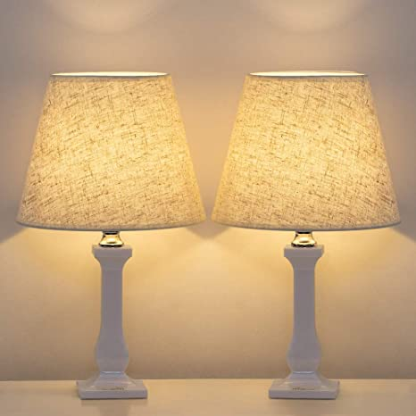 HAITRAL Bedside Table Lamps - Modern Nightstand Lamps Set of 2 ...