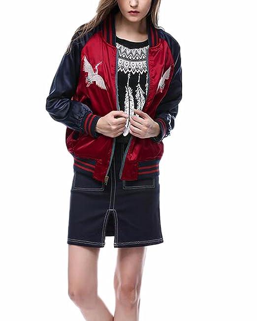 ZANZEA Mujer Hombre Chaqueta De Satén Bordada Estampada Stand Collar Manga Larga Zipper Reversible EU 46/ASIA XL: Amazon.es: Ropa y accesorios