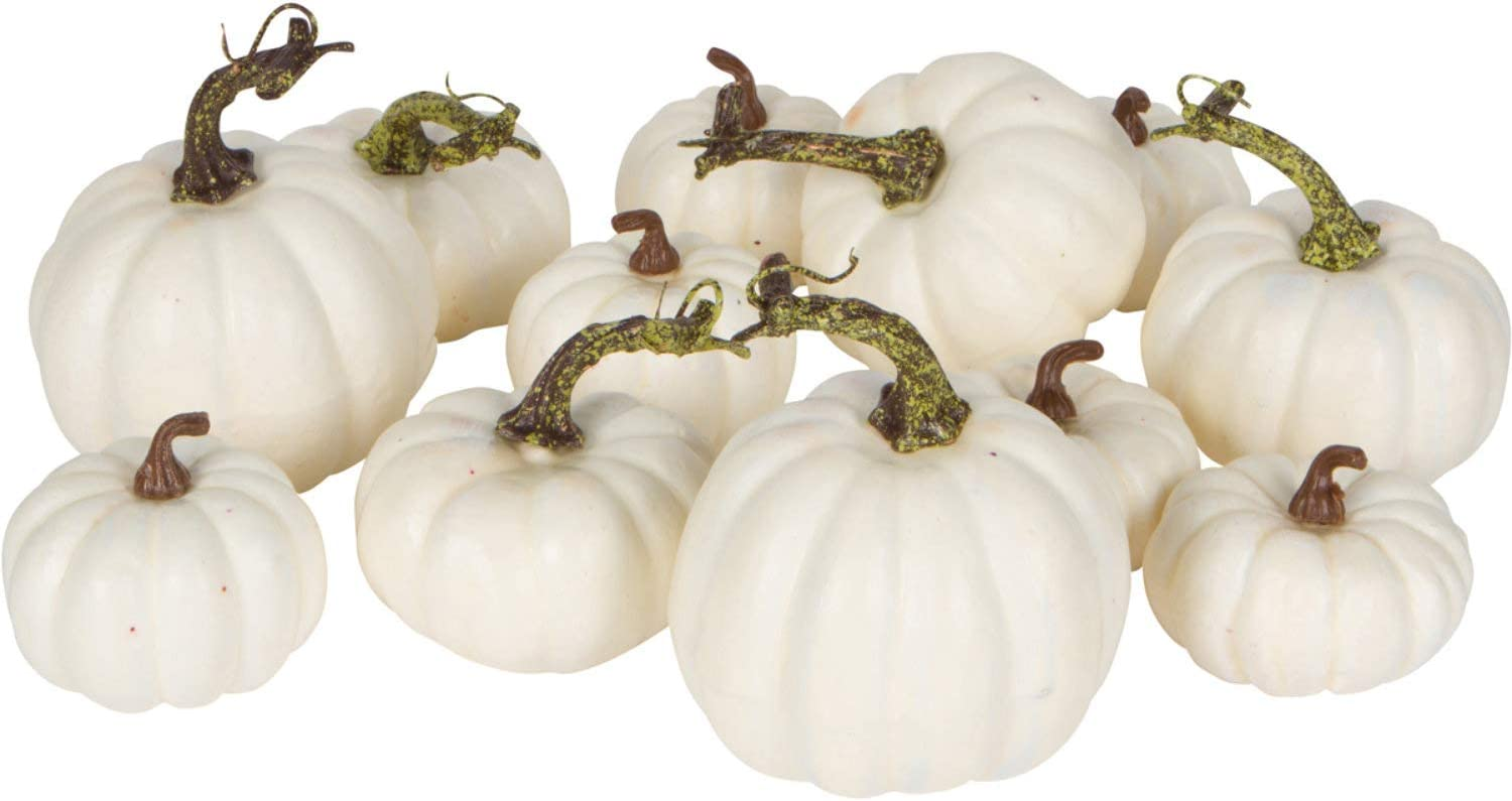 One Holiday Way Artificial White Pumpkins Wedding Decor Halloween Fall Table Decoration, 12 Piece Set
