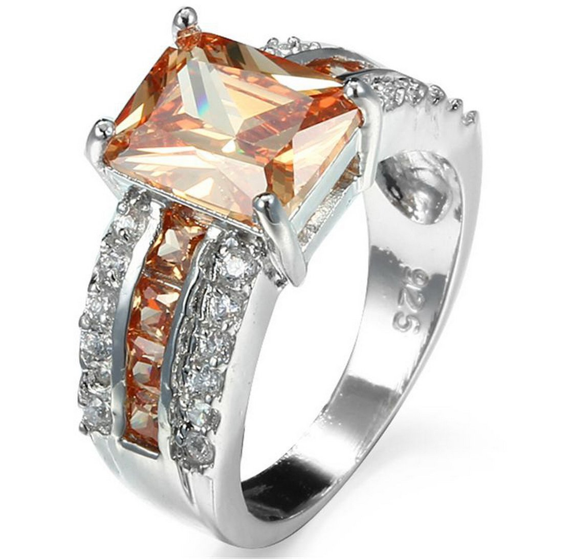 PSRINGS ''Champagne Morganite Sapphire Ring With Crystal Zircon 10KT White Gold Filled Promise Rings ''''925'''' Tab Ring Top'' 10.0