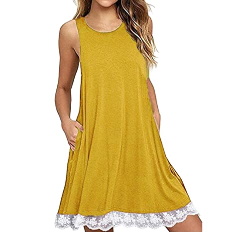 Amazon.com: Soft Cotton Womens Sleeveless Solid Pockets Casual Daily Wear Swing T-Shirt Dresses Flowy Beach Party Cocktails Dress (XX-Large, ...