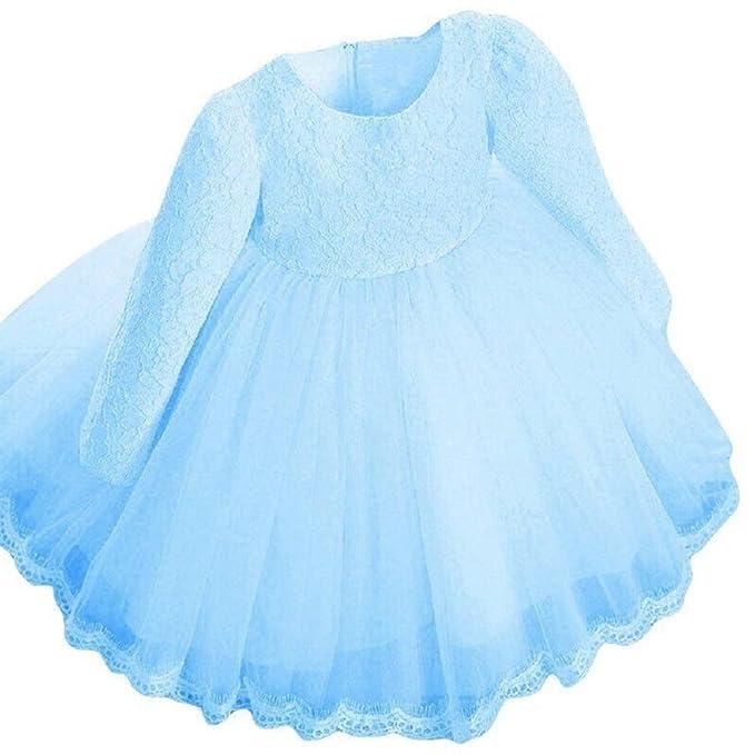 QUICKLYLY Vestidos Cortos Bautizo Bebé Niñas Princesa Para Bodas Gasas Manga larga Princesa Tutu Traje (