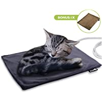 Pecute Pet Heat Pad Small 32x40cm, Constant Heating Safe Electric Heated Mat Anti Bite Waterproof with Removable Flannel Cover & Fire Retardant Cotton, Soft Cosy for Puppies Kittens(2 Covers)