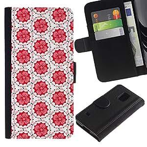 iBinBang / Flip Funda de Cuero Case Cover - Patrón Azulejos Blanco Rojo Peach - Samsung Galaxy S5 V SM-G900