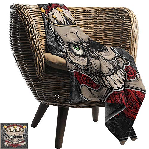 (Couch Blanket Gothic Skull with Crown Roses Bones Dead King Halloween Illustration Art car/Airplane Travel Throw 84
