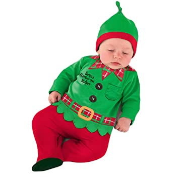 039bf09df681a Vine Baby Christmas Outfits Baby Romper + Hat Printed Jumpsuit Santa Suits  Outfit Xmas Clothing green