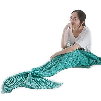 Yeipis Mermaid Tail Throw Blanket Super Soft Crochet Blanket And
