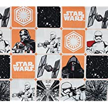 100% Cotton Fabric Quilt Prints Star Wars The Force Awakens Block Edition White and Orange Licensed Sold By The Yard N-Cotton-93-OT
