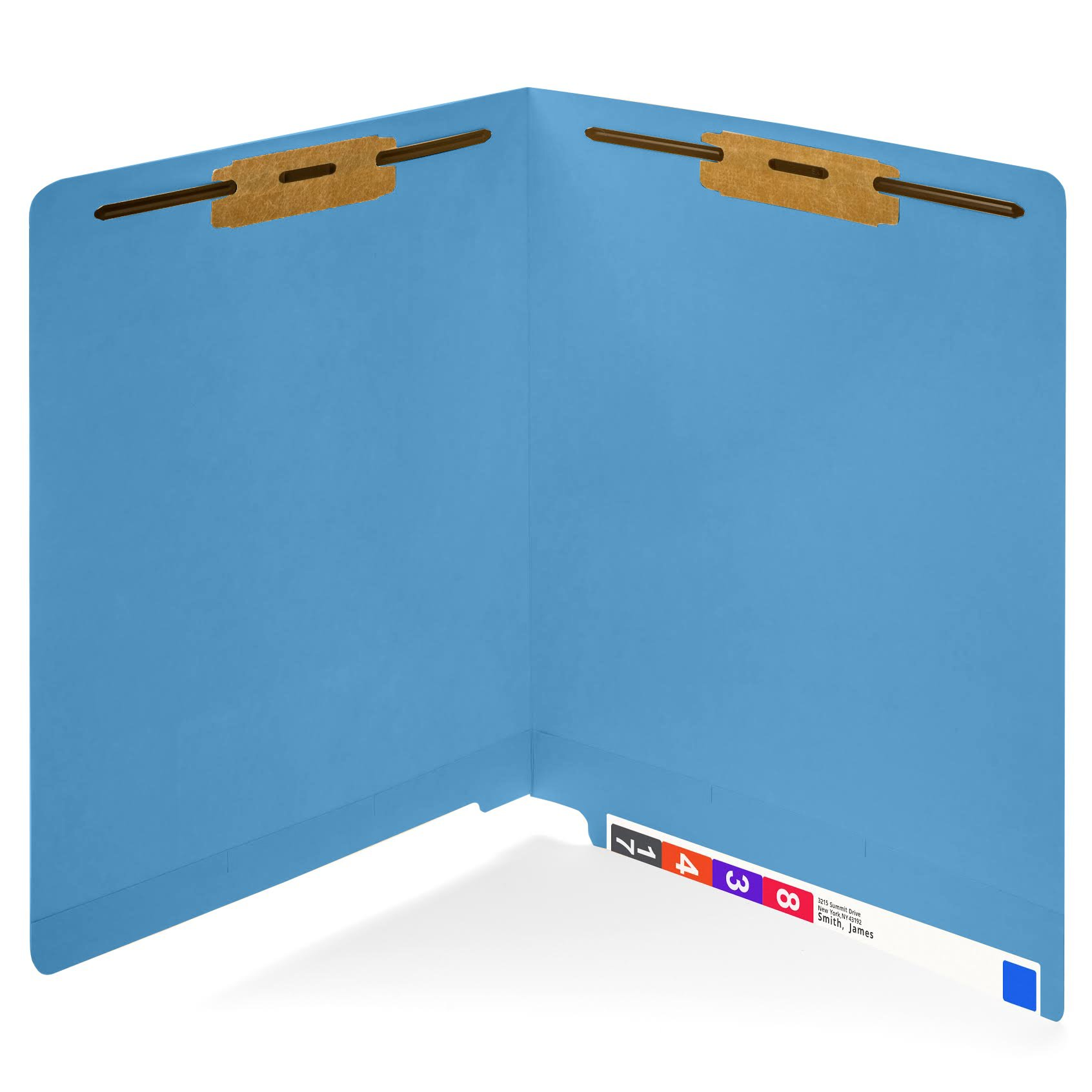 50 Blue End tab Fastener File Folders- Reinforced Straight Cut tab- Durable 2 Prongs designed to organize standard medical files, receipts, office reports, and more – Letter Size, Blue, 50 PACK