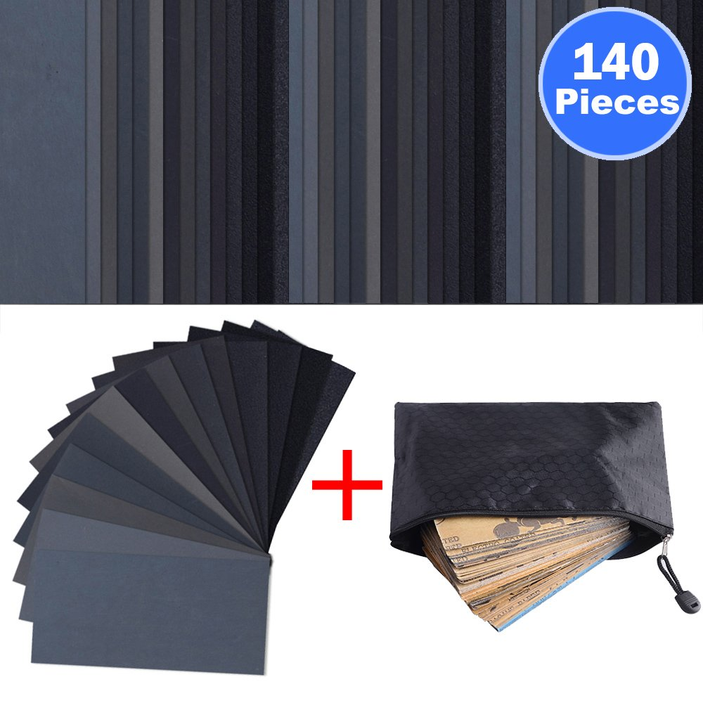 140 Pieces Sandpaper Assorted Wet/ Dry, 120 to 3000 Grit Sandpaper Assortment, 3 x 5.5 Inch Abrasive Paper Sheet with Free Pouch, for Automotive Sanding, Wood Furniture Finishing