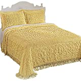 Calista Chenille Bedspread with Fringe Border, Yellow, King