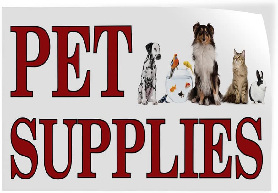 Set of 10 14inx10in Decal Sticker Multiple Sizes Pet Supplies #1 Style A Business Pet Shop Outdoor Store Sign White