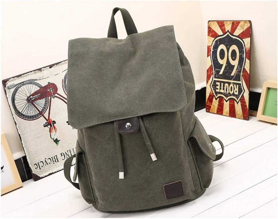 LHQ-Camera Bag Mens Durable Vintage Canvas Backpack School Laptop Bag Hiking Travel Rucksack Brown Camera Bag Color : Black