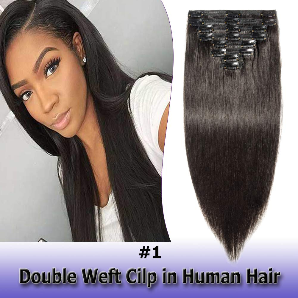 100% Remy Clip bei Human Haar Extensions Double Weft Thick 22 Zoll 160G 8Pcs 18 Clips auf 8ein Grade weich Straight Haar (Natural Black #1B,22&Rsquo;&Rsquo;)