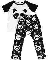 para la ropa de los muchachos,RETUROM 1 juego lindo del niño del bebé ropa de niño de la panda camisa + pantalones de los cabritos sets Outfit