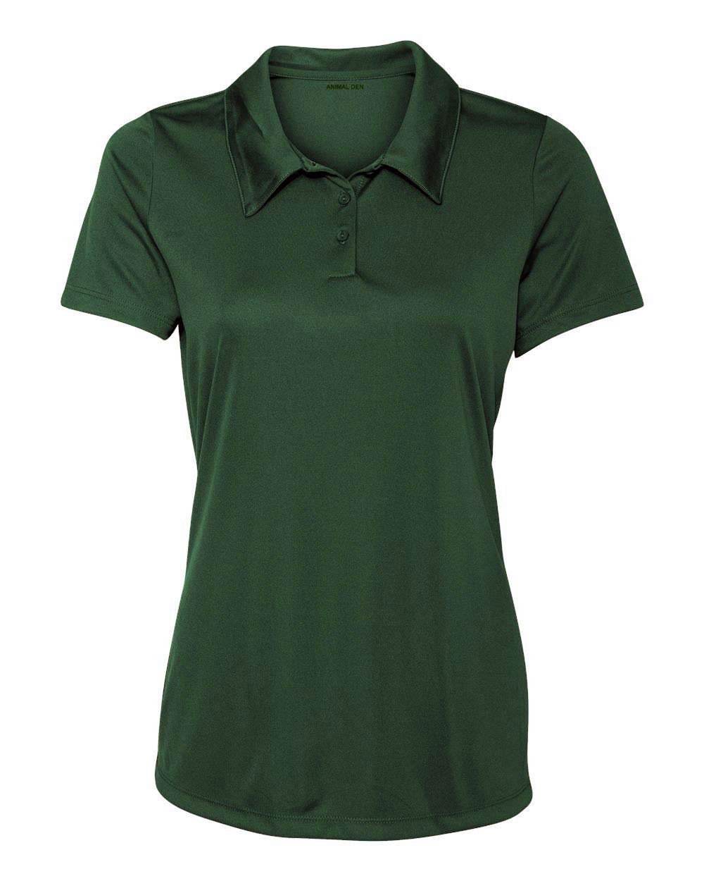 Animal Den Women's Dry-Fit Golf Polo Shirts 3-Button Golf Polo's in 20 Colors XS-3XL Shirt Forest-S