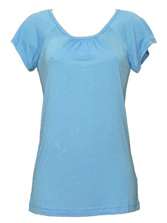 40e8b7fce50 Womens T-Shirts Plain Tops Ladies Short Sleeve Smock Top Summer Tee   Amazon.co.uk  Clothing