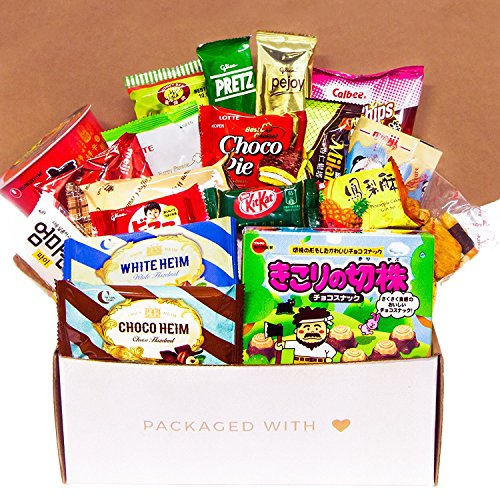 Premium Asian Snack Box | Japanese Snacks | Variety Assortment of Japanese Candy | Korean Snacks | Chinese Snacks | College Care Package (Asian Snack Box, 20 Count, Gift Package)