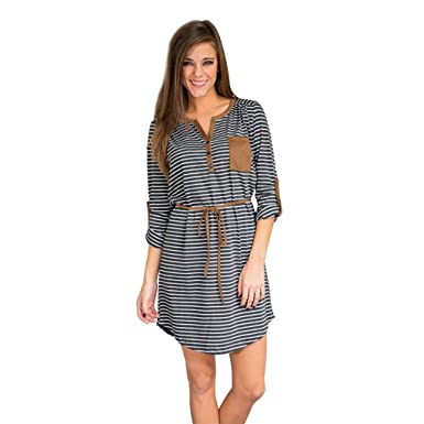 5cd5870dcf Dantiya Women's Striped Cuffed Sleeve Shirt Dress at Amazon Women's ...