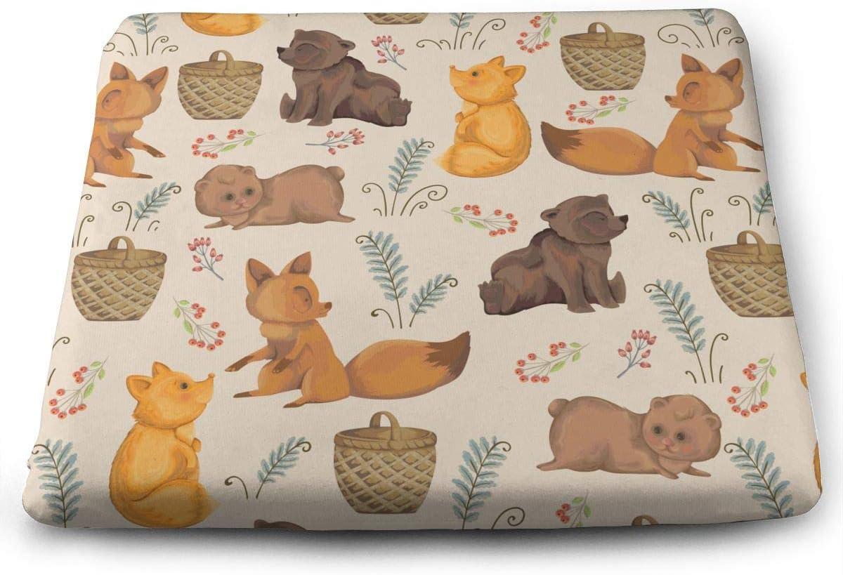 Funny Z Little Foxes Teddy Bear Basket Bayas y Hojas de Helecho Elasticidad Antideslizante Almohadillas de Espuma para Silla Cojín de Asiento Cuadrado para Sofá de Oficina Hogar