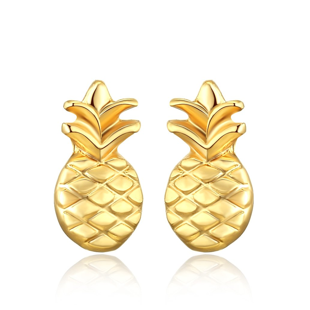Rosa Vila Dainty Pineapple Earrings, Tropical Fruit Jewelry, Symbolizes Friendship and Generosity, Hawaii Jewelry, Wearable Tropical Vacation Gifts for Women RV2 (Gold Tone)