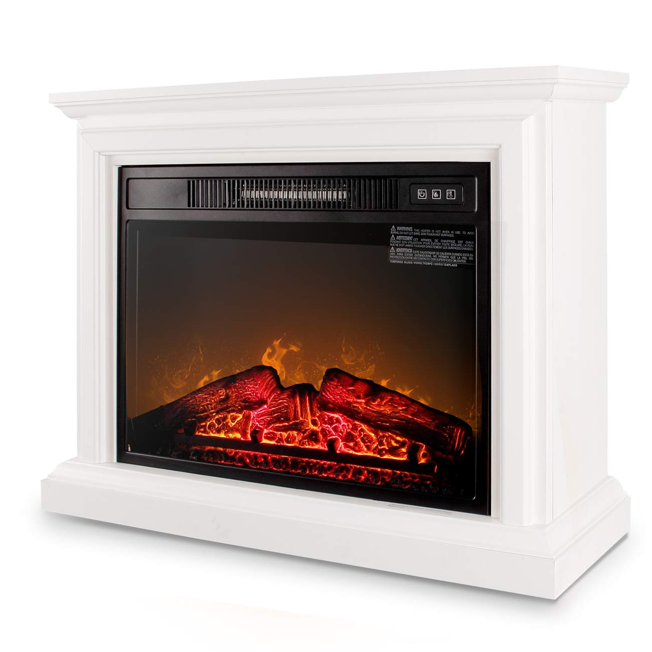 Large Room Electric Quartz Infrared Fireplace Heater Deluxe Mantel, w/ Remote Control 1400 Watt