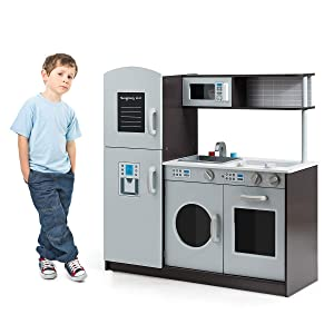 Costzon Kids Play Kitchen with Simulated Sound, Wooden Pretend Cooking Food Set with Sink, Stovetop, Fridge, Oven, Microwave, Pretend Cooking Food Playset Toddler Gift Toy