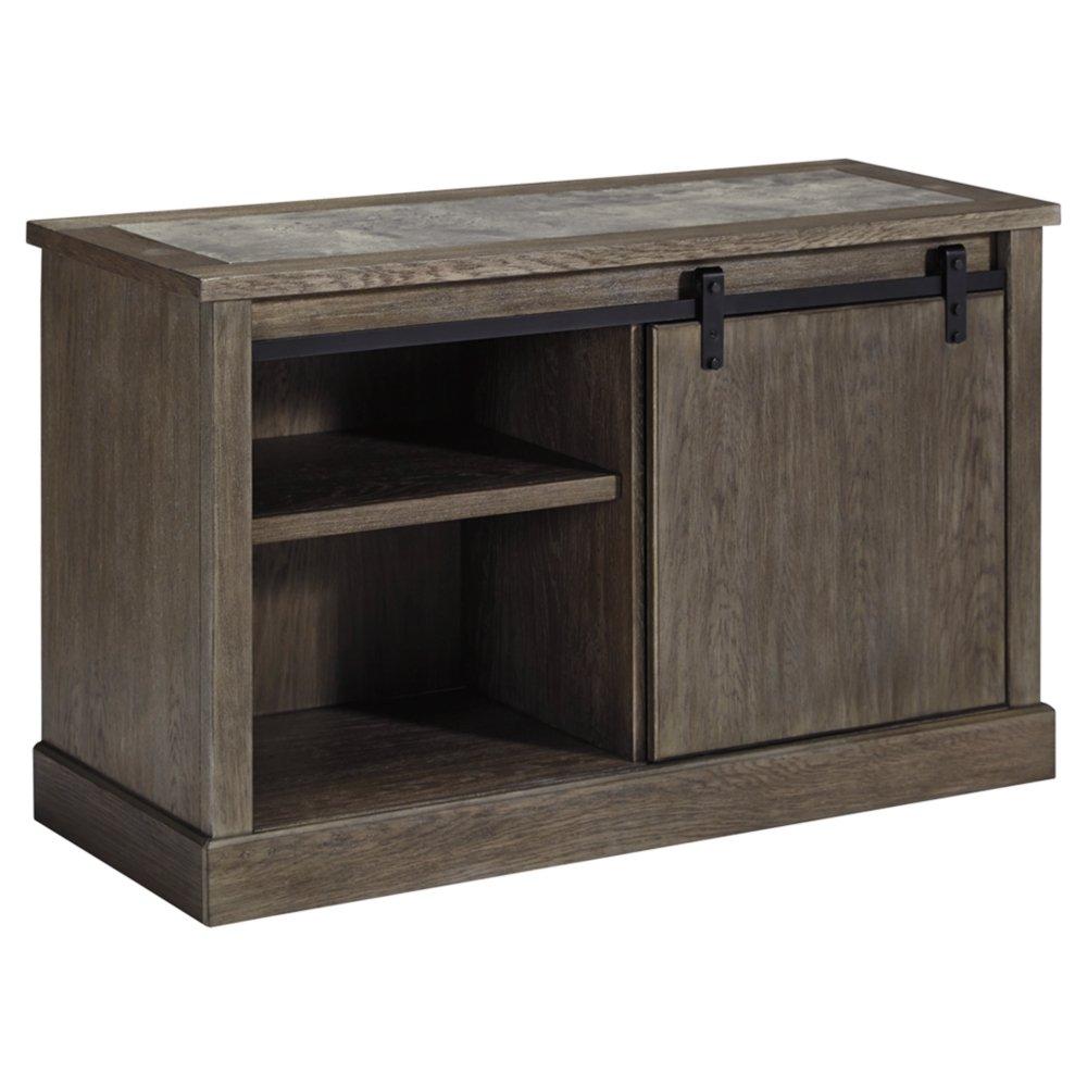 Ashley Furniture Signature Design - Luxenford Large Credenza - 2 Shelves/Barn Door Storage/Faux Bluestone Inset - Grayish Brown Finish - Black Hardware