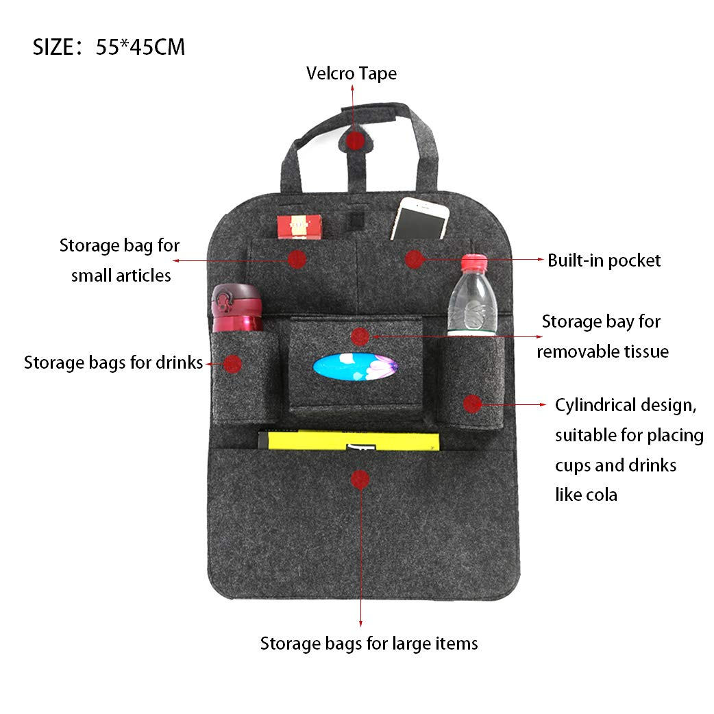 Sportplay 2PCS Car Backseat Organizer Adjustable Car Seat Back Storage Pocket with 7 Pockets Black Dark gray