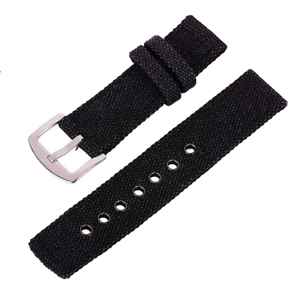 24mm Black Canvas Watch Strap for Men and Women 2 Piece NATO Straps Premium Watch Bands Replacement