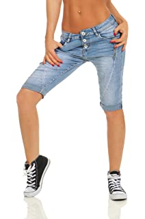 11521 Knackige Damen Jeans Bermuda Hose Boyfriend Denim Shorts Destroyed