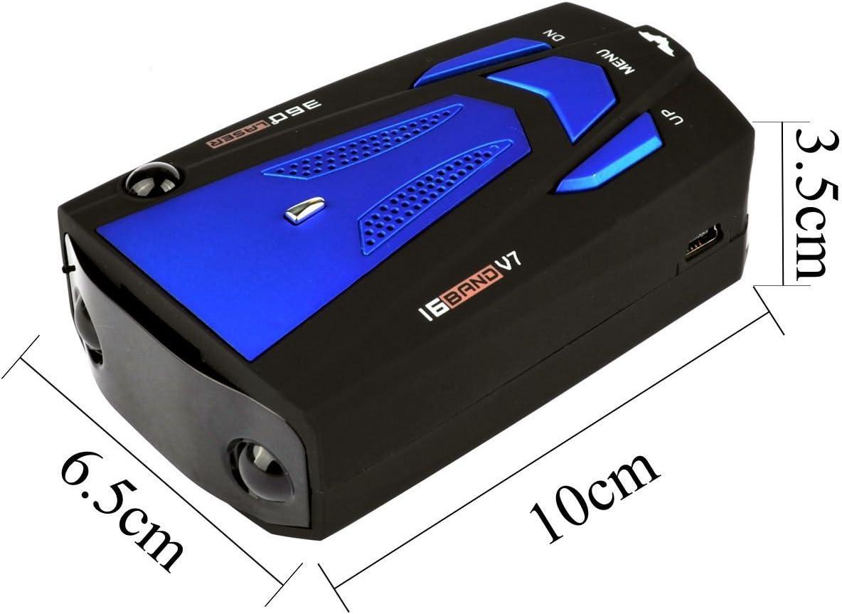 blu schermo V7 a infrarossi Rilevatore GPS per limite di velocit/à a 360 gradi vocale