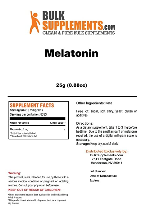 Amazon.com: BulkSupplements Melatonin Powder (25 grams): Health & Personal Care