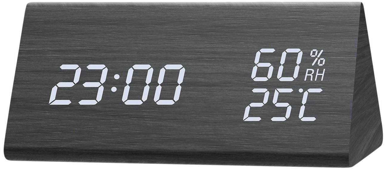Lyker SWEET-619 Alarm Clock, LED Digital Clock with White Backlight Digit, 3 Levels Brightness, 3 Groups of Alarm Time, Wooden Alarm Clock Display Date, Temperature and Humidity