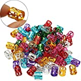 Coobbar 100Pcs Hair Braid Bead Dreadlock Beads Micro Rings Link Adjustable Hair Braids Cuff Clip (Mixed)