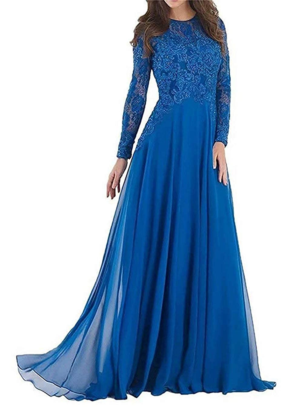 bluee Pretygirl Women's Elegant Lace Mother of The Bride Dress Evening Dress Prom Gown for Wedding