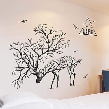 Iwallsticker Black Tree Animal Elk Birds Wall Stickers Living Room