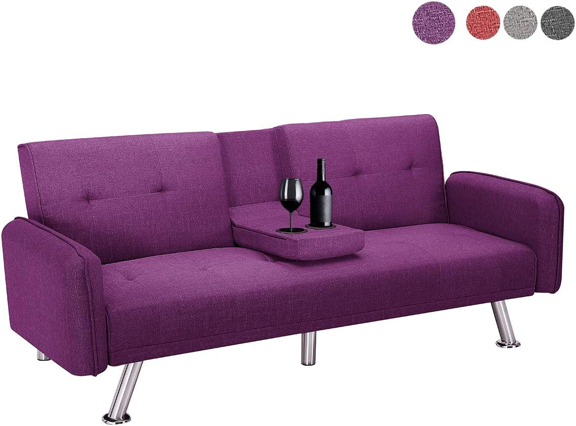Futon Sofa Bed, Modern Convertible Couch Sleeper Sofa with Armrest and Metal Legs, Twin Size Folding Recliner Sofa Bed Home Furniture for Living Room with 2 Cup Holders Linen Fabric Purple