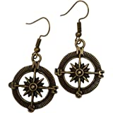 Steampunk Nautical Pirate Compass Earrings Pendant Charm Dangle in Antique Style