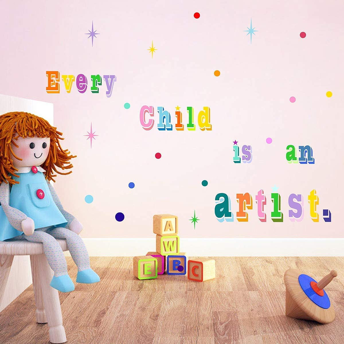 Every Child is an Artist Wall Sticker,Inspirational Lettering Quotes Wall Decals Nursery Kids Room Playroom Classroom Decor Rainbow Color
