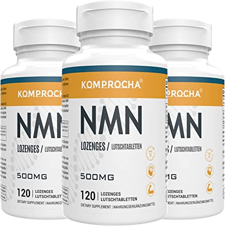 KOMPROCHA NMN Supplement 500mg, Nicotinamide Mononucleotide Lozenges NAD+ Booster for Anti-Aging & Cellular Repair (360 Lozenges, Pack of 3)