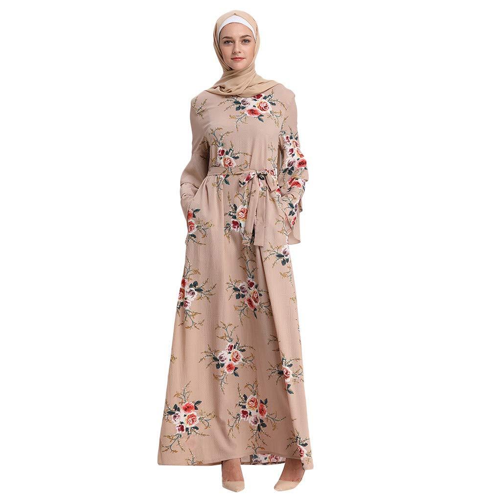 Women Summer Print Maxi Dress, Lady Trumpet Sleeve Embroidery Elegant Swing Dress Long Robe Gowns Tunic Belt