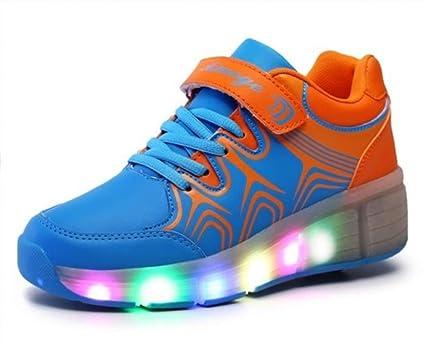RFGTYBDD Delicado Zapatos para niños con Ruedas Zapatillas para patinetas Zapatillas ultraligeras Zapatos para emitir (