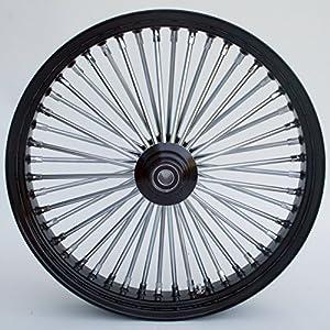 Ultima King Spoke Tubeless Black Front Single Disc Wheel 21x3.5 for 00+ Harley (37-533)