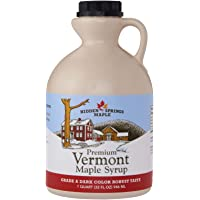 Hidden Springs 100% Natural Vermont Maple Syrup, Grade A Dark Robust (Formerly Grade B), 32 Ounce, 1 Quart, Family Farms…