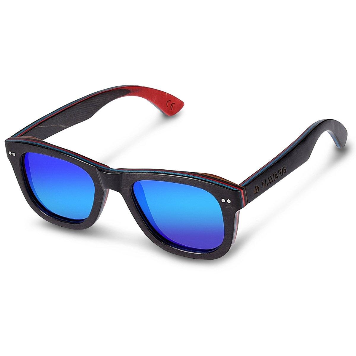 d8a83d37ad4 Navaris UV400 Vintage Skateboard Wood Sunglasses - Unisex Retro Wooden  Glasses - Modern Wood Shades Women Men - Eyewear with Case Polarized Lenses   ...