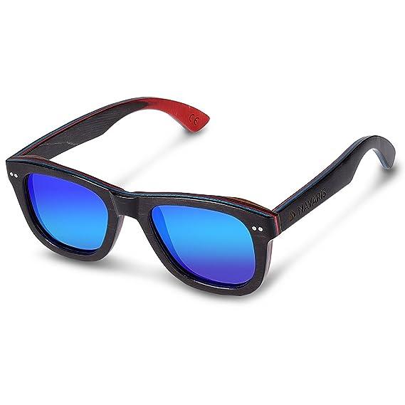 2347920e049c Navaris UV400 Vintage Skateboard Wood Sunglasses - Unisex Retro Wooden  Glasses - Modern Wood Shades Women Men - Eyewear with Case Polarized  Lenses  ...